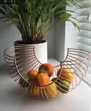 Curved Copper Fruit Bowl 33cm Metal Wire Kitchen Vegetable Basket Container