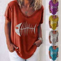 Women Casual V-Neck Loose Blouse Tops Short Sleeve Fish Bones Printed T-Shirt