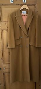 Harrods Wool and Cashmere Blend Camel Coat Size 14 Full Length