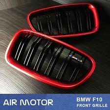 M5 Style Shiny Black Front Grill Red Metallic BMW F10/F11 520i 535i 550i 11-16