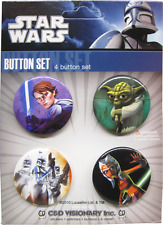 88008 Star Wars Clone Yoda Skywalker Movie Pin Badge Button Gift Pack SET OF 4