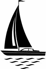 Vela velero marinas Silueta Sticker Etiqueta de vinilo gráfico Etiqueta Negra V2