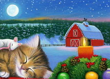 Kitten cat mouse sleeping Christmas barn candle snow OE aceo print of painting