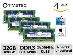 Timetec 4x8GB DDR3L 1866MHz PC3-14900 Non-ECC 1.35V 2Rx8 SODIMM Apple Memory RAM