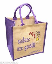 """""""Sisters are Great"""" Jute Shopper from These Bags Are Great"""