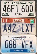 UTAH KENTUCKY ALABAMA SET OF 3 LICENSE PLATES VINTAGE AMERICANA MAN CAVE #358