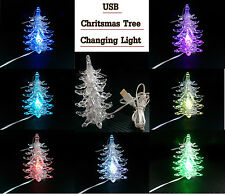 USB Christmas Tree Colour Changing LED Lights Xmas Festive Decoration Desk 12cm