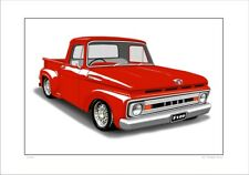 1961 FORD F100 PICK UP TRUCK  LIMITED EDITION CAR DRAWING PRINT ( 5 CAR COLOURS)