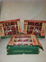Three Dozen Vintage Fantasia Red Glass Balls Christmas Ornaments wBox Poland