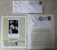 North Carolina Statehood Stamp Envelope Bicentennial 25 postmarked 1989 Mint