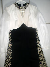 Vintage Gorgeous 80's B&W Jumpsuit Bellbottom Pants Nicely Embroidered w' Beads