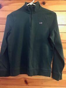 Vineyard Vines Saltwater 1/4 Zip Sweatshirt Boys Green Pullover Size L 16