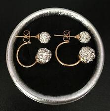 Doppel Perlen Ohrringe Shamballa Kristall Zirkonia Ohrstecker Gold Kugel Neu