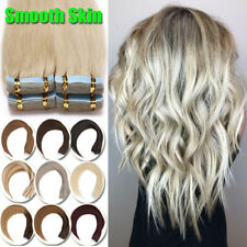 INVISIBLE Skin Weft 150G Remy Human Hair Extensions Tape In On FULL HEAD Blonde