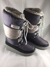 Vtg 80s Bonis Platform Moon Boots Italy Size 39-40 Puffer Winter Gray Colorblock