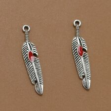 Three (3) Tibet Silver Feather Leaf Pendants Charms Diy Necklace Etc