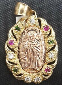 New Pendant Mary Mother Of Jesus 14k Rose Gold Diamond Ruby Emerald Sale price