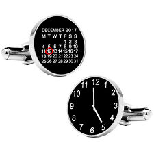 Personalised Special date & time Round Cufflinks For Men Birthday Wedding Gift
