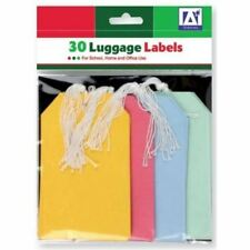 Pack Of 30 Large Coloured Paper Luggage Label Tags Tie On String Travel