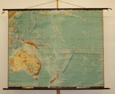Vieux Allemand Schulwandkarte de Australie après 1. Guerre Mondiale 189x153cm