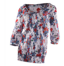 EX Dorothy Perkins Ladies Floral Pretty White Red & Blue Cotton Top