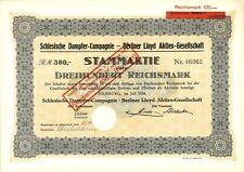 Aktie Schlesische Dampfer Compagnie - Berliner Lloyd AG 300 RM 1928 Hamburg