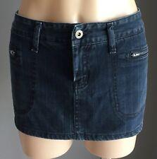 Retro LEE DENIM Dark Blue & White Pinstripe Denim Mini Skirt Size 12
