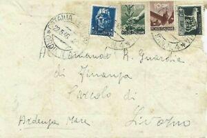 22/5/1946 10C+1L DEMOCRATICA+35C+2,55L P.O REGNO USO TARDIVO DA CATANIA X LIVORN
