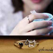 Lady placcato nuovo argento dell'anello di barretta di apertura regolabile Dog