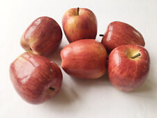 6 - Artificial Apples Red Large Fruit Plastic Fake Home Decor Staging Kitchen