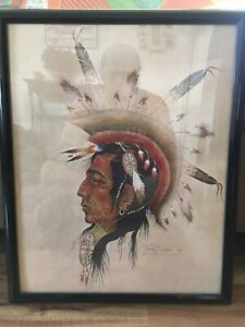 Vintage Authentic Pencil Signed Woody Crumbo Lithograph