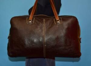 ROOTS X- LARGE Brown Pebbled Tribe Leather Duffel Travel Bag Weekender Case