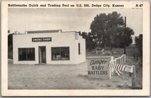 "Dodge City, Kansas Postcard ""Rattlesnake Gulch & Trading Post"" OWENS SHOP c1950s"