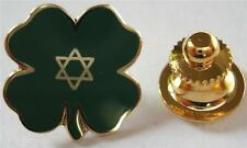 LUCKY JEWISH Four Leaf 4 CLOVER Star of David Irish Hat Vest Jacket Lapel Pin