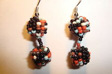 Indian ,Handmade Beaded,Round, Drop  Earrings~A~uk seller