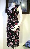 Vintage Laura Ashley Black with flower design Dress Size US 6 UK 10 EUR 36