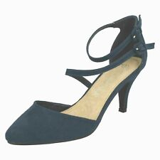 Spot On F9R657 Ladies Navy Faux Suede Cross Strap Court Shoes (R32B)