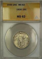 1930 Full Head Standing Liberty Silver Quarter 25c Anacs Ms-62 (Better Coin) Dj