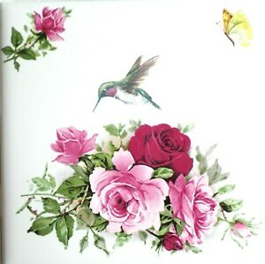 "Hummingbird Victorian Rose Flower Ceramic Tile 4.25"" x 4.25"" Kiln Fired Accent 2"