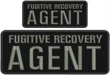 Fugitive Recovery Agent embroidery patches 4x10 and 2.5x6 hook letters:grey