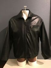 Studio Andrew Marc Black Leather Motorcycle Bomber Flight Jacket Large Like New