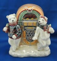 COCA-COLA Pearlescent MUSICAL FIGURINE WITH POLAR BEARS AT JUKE BOX Wind-Up