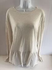 Old Navy womens peplum hem swing knit top XXlarge 100% rayon oatmeal NEW