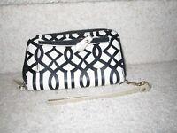 KATE LANDRY Black white Leather Zip Around Wallet Wristlet New No Tag