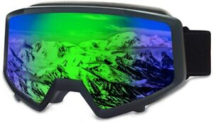 OTG Ski Goggles Motorcycle Goggles Double Lens Anti Fog Waterproof (Green)