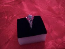 WOMENS 10K SOLID WHITE GOLD DIAMONS AND 3-1 CTW PINK TOPAZ
