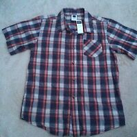 M&Co Boys Short Sleeve Blue Red White Check Shirt Size 11-12 Years Button Up