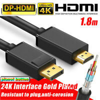 1.8M Display Port DP to HDMI Cable Adapter Converter Audio Video AV PC 1080P 4K