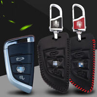High Quality Leather 2 buttons Remote Smart Key Fob Case Holder Cover for BMW