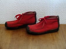 LADIES RED SUEDE LEATHER MOCCASIN ANKLE BOOTS SIZE 5